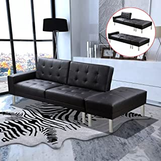 Tidyard sofá cama con otomana, estilo moderno, estructura de madera, tapizado de cuero artificial, negro