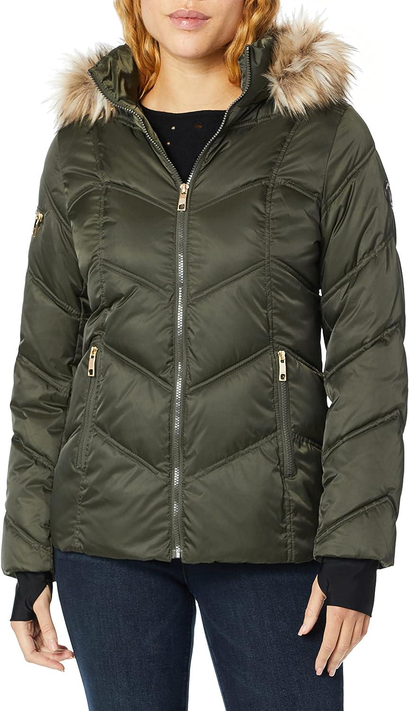Nautica Women's Short Puffer Coat with Faux Fur Trim Hood