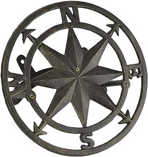 Zeckos Cast Iron Compass Rose Wall Mounted Decorative Hanging Garden Hose Holder Bronze