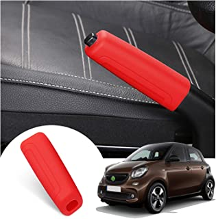 LFOTPP Schaltknauf Hülle für Smart Fortwo Forfour, Silikon Handbremsendeckel Schutzhülle Abdeckung, Schalthebelmanschetten Auto Zubehör (Red)