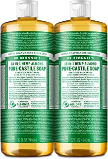 Dr. Bronner's - Pure-Castile Liquid Soap (Almond, 32 ounce, 2-Pack) - Made with Organic Oils, 18-in-1 Uses: Face, Body, Ha...