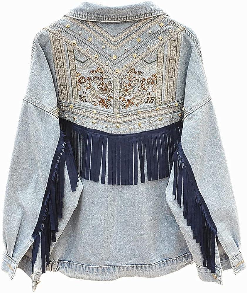 Denim Women Jacket Spring Vintage Floral Embroidery Suede Fringe Loose Coat Long Sleeve Outerwear Female Jacket