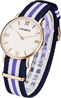 Songlin@yuan 6813 Creative Fashionable Ultra Thin Rose Gold Case Quartz Wrist Watch with 5 Stripes Nylon Band for Women Fashion (Color : Blue)