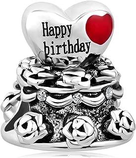 QueenCharms Happy Birthday Charm Birthday Cake Beads For Charm Bracelets