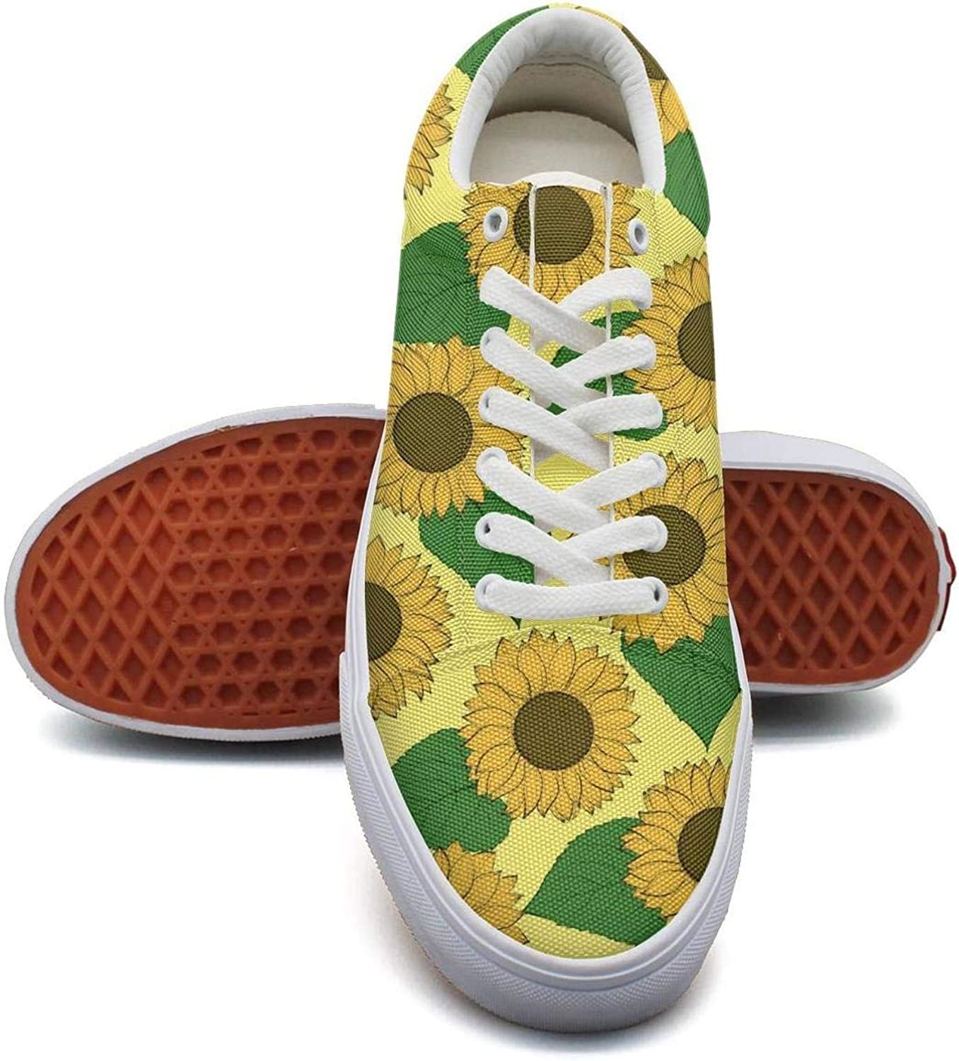 MSSDFF 3D Sunflower Stickers bluee Pretty Canvas Tennis Sneakers shoes for Women