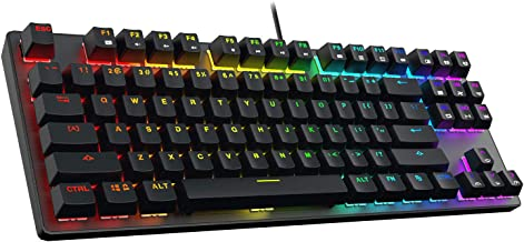 DREVO Tyrfing V2 Customizable RGB Compact 87 Keys Mechanical Gaming Keyboard USB Wired Tenkeyless Programming Macro Media Control Software Support Outemu Red Switch Black