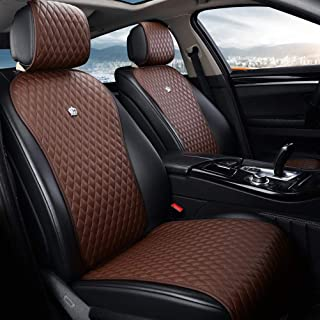Brown Universal Seat Covers Leather Seat Cushions 2/3 Covered 11PCS Luxury Seat Protector Universal for Car/Auto/Truck/SUV/Van (A-Brown)