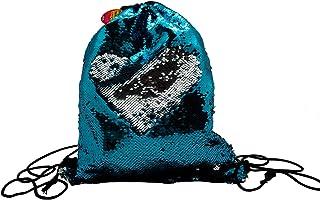 Reversible Sequin Drawstring Bag ~ Backpack ~ Memaid Sequin Gym Bag, Sports Bag, Glittering Shoulder Bag, Travel Bag (Turquoise/Silver)
