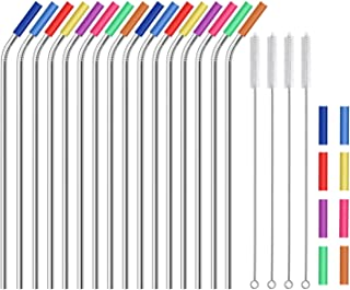 """Stainless Steel Straws,Set of 16 10.5"""" Reusable Drinking Straws for 20 24 30 oz Yeti Tervis Rtic Tumbler,Eco-friendly Extra Long Metal Straws with 24 Soft Food-Grade Silicone Tips,4 Cleaning Brushes"""