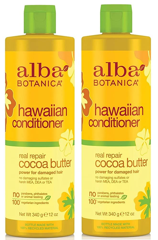 Alba Botanica, Real Repair Cocoa Butter Hawaiian Conditioner, 12 Ounce Bottle (Pack of 2)