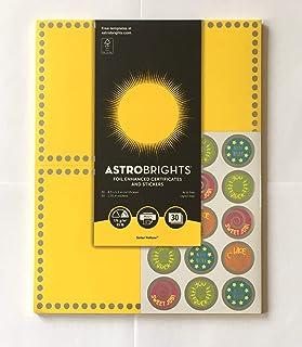 Astrobrights 铝箔增强证书和贴纸 - 太阳黄色 - 30 张 21.59 x 13.97 厘米证书和 30 张 3.18 厘米贴纸
