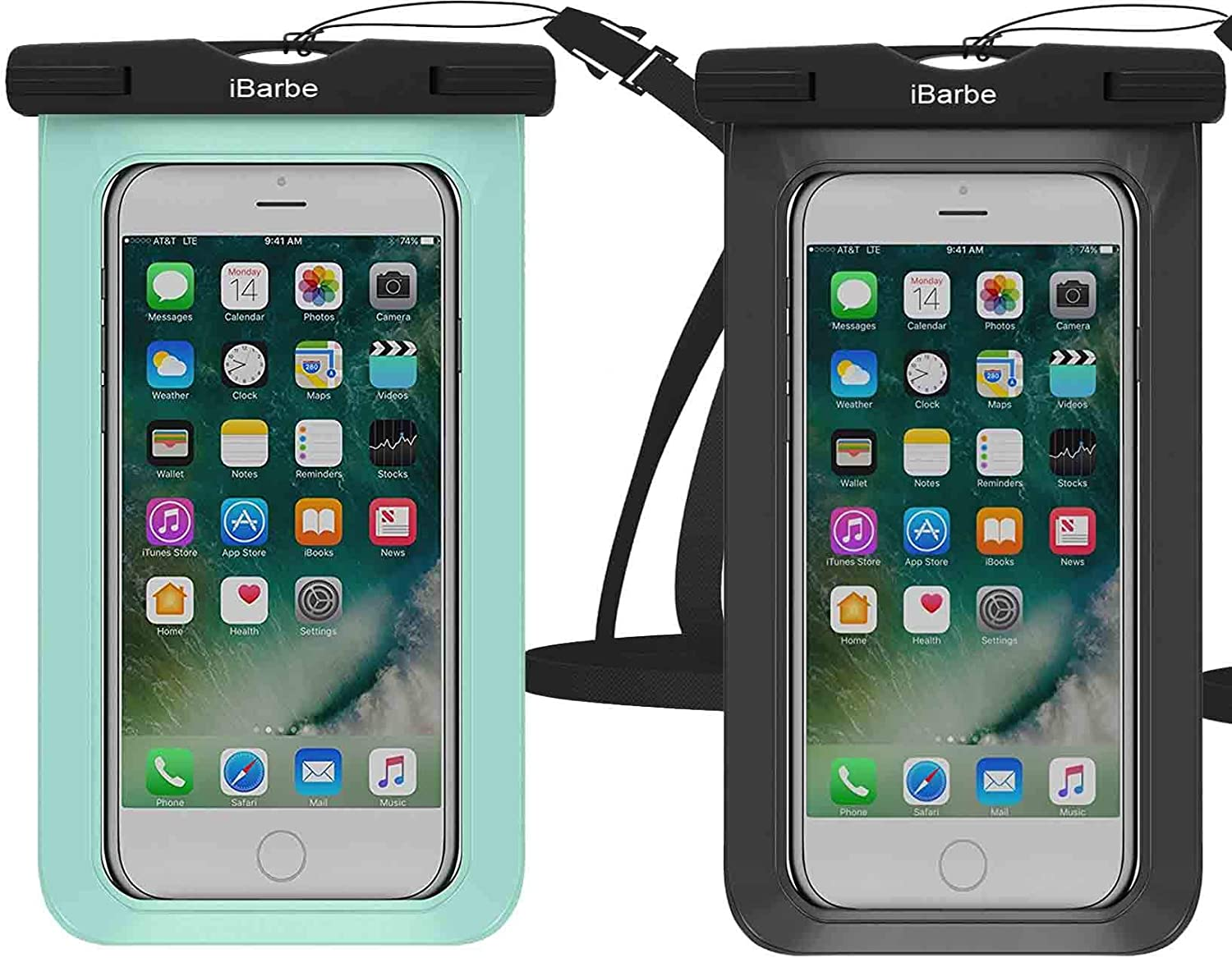 Waterproof Case,2 Pack Universal Cell Phone Dry Bag Pouch Underwater Compatible with iPhone X XR XS MAX 8 Plus 7 7 Plus 6S 6 6S Plus SE Galaxy Note s9 s s8 LUS S7 S6 Edge etc.to 5.7 inch,Blue+White