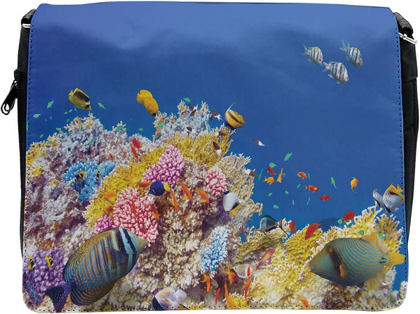 Ambesonne Underwater Cross Body Messenger Bag, Tropical Corals Fish, Unisex