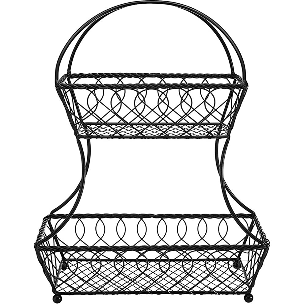 KEOA 2-Tier Countertop Fruit Basket, Metal Bowl Stand Display Tray for Fruit Vegetables Snacks Bread(Black, 147.517.5inch)