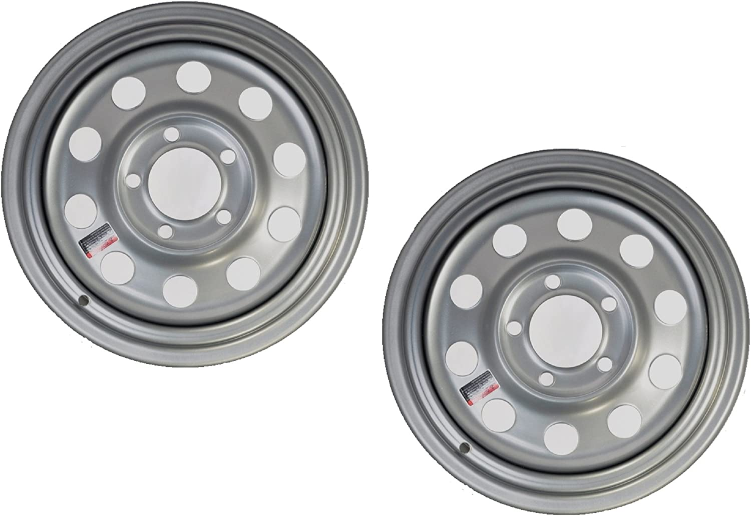 2-Pack Trailer Wheel Silver Rims 15 Houston 2021new shipping free shipping Mall x Style 4 On 5 Modular Lug