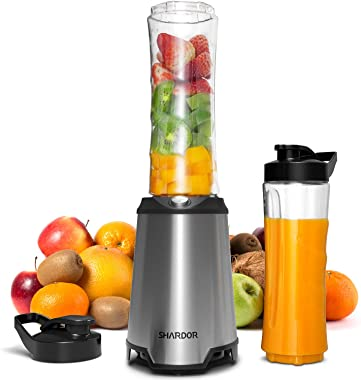SHARDOR Personal Blender, Smoothie Blender with 2 BPA-Free Portable 20oz Travel Cups for Juice Shakes, Smoothies, Food Prep,