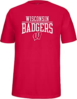 NCAA Wisconsin Badgers Adult School Name Over Logo Choice Tee, Small, Red