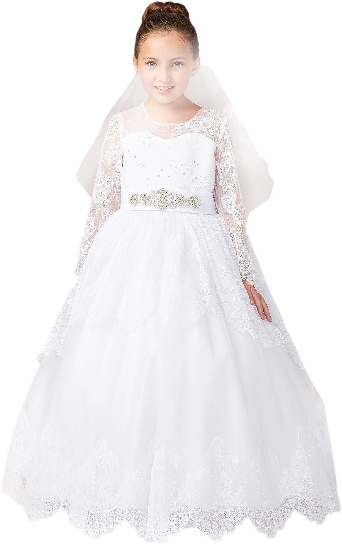 Tip Top Kids Big Girls White Long Sleeves Lace Communion Dress 7-18