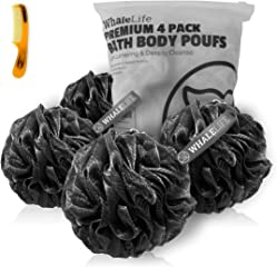 Shower Puff 4 Pack Black Bath Sponge Shower Loofahs Pouf Ball Nature Bamboo Charcoal Mesh Bulk Puffs Large, Shower Essential
