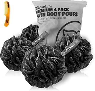 Shower Puff 4 Pack Black Bath Sponge Shower Loofahs Pouf Ball Nature Bamboo Charcoal Mesh..