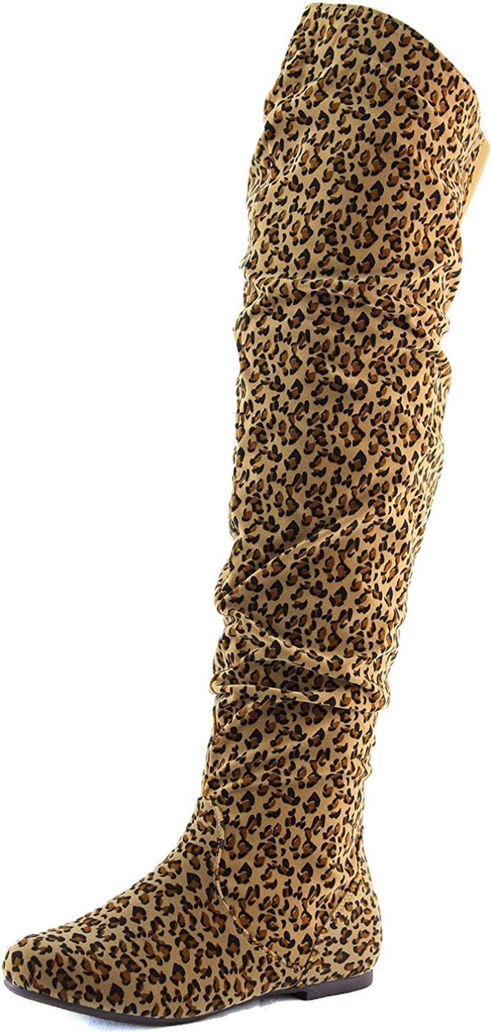 Dailyshoes Women's Fashion-Hi Over-The-Knee Thigh High Flat Slouchly Shaft Low Heel Boots Leopard Suede, 7.5 B(M) US