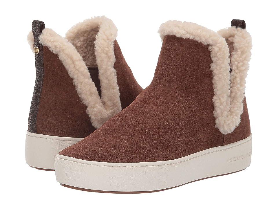 84cad2aa9953 MICHAEL Michael Kors Ashlyn Slip-On (Dark Caramel Sport Suede Mini MK Logo  Semi Lux Faux Curly Shearl) Women s Pull-on Boots