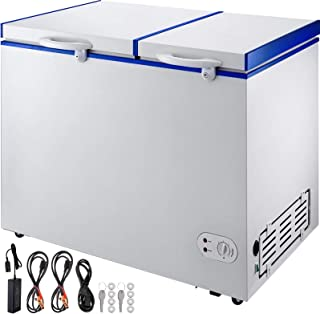 VBENLEM BCD-232DC Deep Freezer 232L(8.2 cu ft) Chest Freezer Two Separate Zones Mini 2-Door Freezer With 2 Storage Baskets & Locks & Wheels for Car Home Camping Truck Party