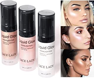 SACE LADY Shimmer Pearl Liquid Highlighter Makeup Ultra-Smooth Radiant Illuminator Face Cheekbones Glow Makeup,Travel Size Mini 6ml/0.20Fl Oz (2.Rose Gold)