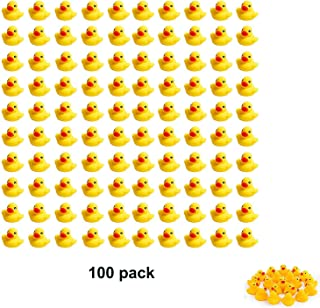 """Sohapy 100Pcs Mini Yellow Rubber Ducks Baby Shower Rubber Ducks, Squeak Fun Baby Yellow Rubber Bath Toy Float Fun Decorations for Shower Birthday Party Favors Gift 100Pcs 1.37"""" x 1.57""""x 1.18"""" Yellow"""