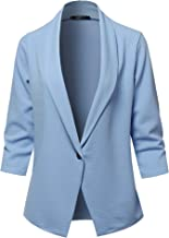 SSOULM Women's Loose Fit Open Front Work Office Blazer Jacket with One Button and Plus Size