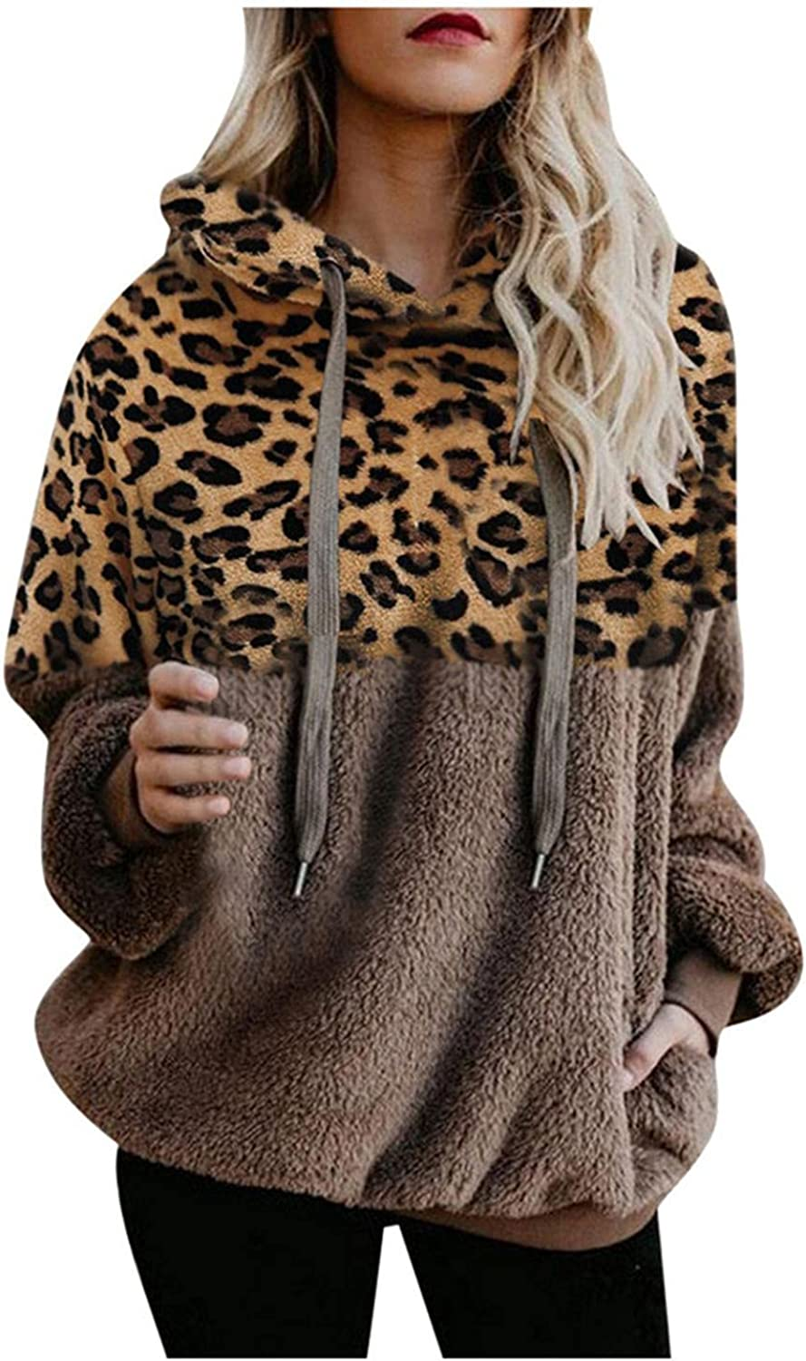 AODONG Hoodies for Womens Oversized Leopard Double Fuzzy Warm Casual Pullover Hooded Sweatshirt Outwear with Pockets