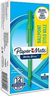 Paper Mate Write Bros Ballpoint Pens, Medium Point (1.0mm), Green, 12 Count (3341131)