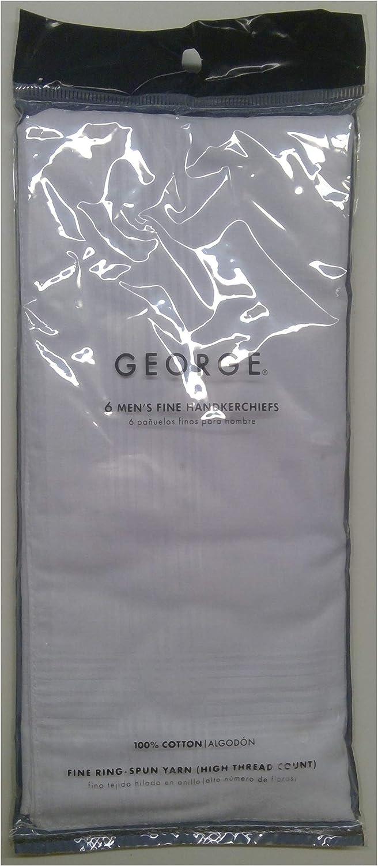 George 6 Men's Fine Cotton Handkerchiefs, 1 Pack of 6 White Hankies