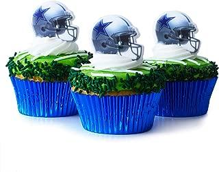 Cakegirls (24 Dallas Cowboys Cupcake Toppers KIT- Dallas Cowboys Football Helmet Rings - (24) Blue Foil Cupcake Liners - (3.2 oz) Green Sugar Jimmies