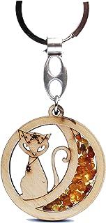 Portachiavi realizzato a mano in ambra e legno, con ciondolo portafortuna per le chiavi o la borsa.