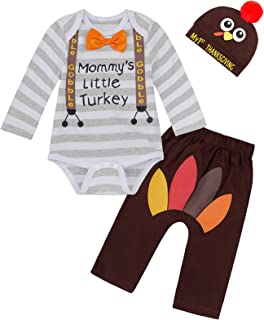 Baby Boys Girls Thanksgiving Outfit Mommy Little Turkey Costume Long Sleeve Bodysuit