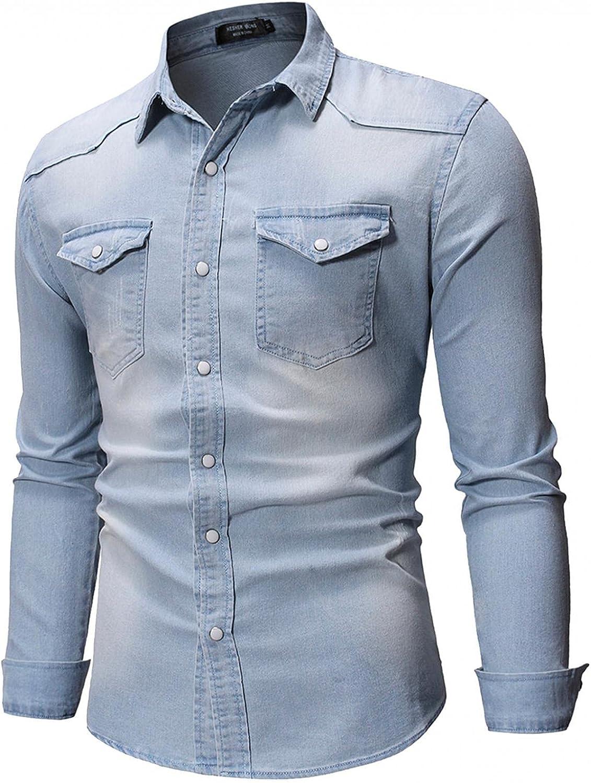 WUAI-Men Classic Denim Trucker Jacket Vintage Long Sleeve Boyfriend Ripped Button Down Jean Jacket Windbreaker Coat