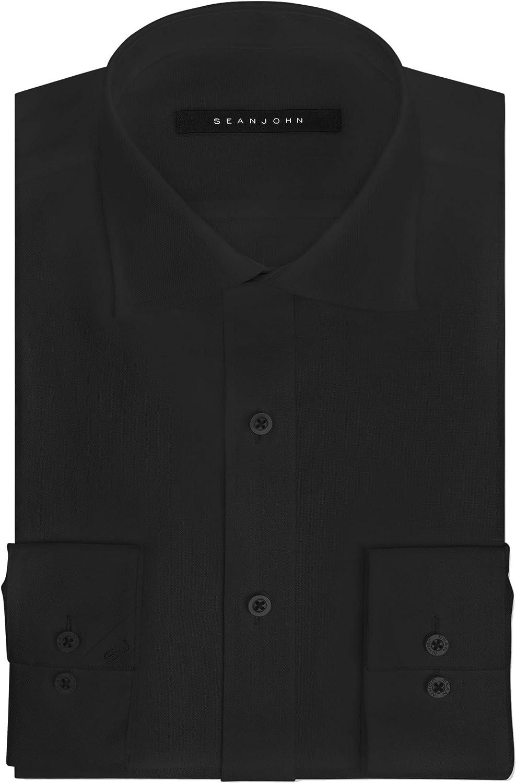 Sean John Mens Dress Shirts Midnight Solid Tailored Fit Black 17