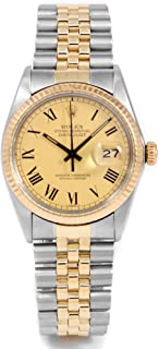 ROLEX Papers - Rolex Datejust 36 mm 16013 Yellow Gold & Stainless Steel - Champagne Buckley Dial - Jubilee Bracelet - Men's Pre-Owned Watch (Certified Pre-Owned)