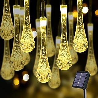 Flintronic 11M 60LED Guirnalda Luces Exterior Solar LED, 8Modos Luces de Gota de Agua Solar, IP65 Impermeabile Luces LED Solares para Jardin, Navidad, Terraza, Fiestas