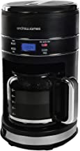 Andrew James Filter Coffee Machine | 12 Cups in 12 Minutes 24 Hour Timer 1.5L Capacity Keep Warm Reusable Filter Anti Drip | Part of The Lumiglo Range | Matt Black Blue LED Lights & Digital Display