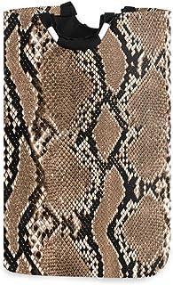 Panier à linge à imprimé peau de serpent Panier à linge Sac à linge sale Seau pliable en peau de serpent marron Poubelle à...