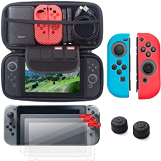 Insten Starter Kit Compatible with Nintendo Switch - Including Travel Carrying Case, Joy Con (L/R) Cover[Blue/Red], Thumb ...