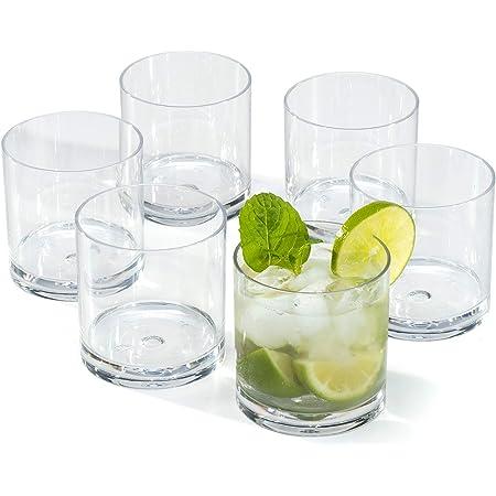 Vasos de Whisky ron Plástico duro Premium reutilizables policarbonato cristal copas irrompibles 30cl - Juego de 6 vasos