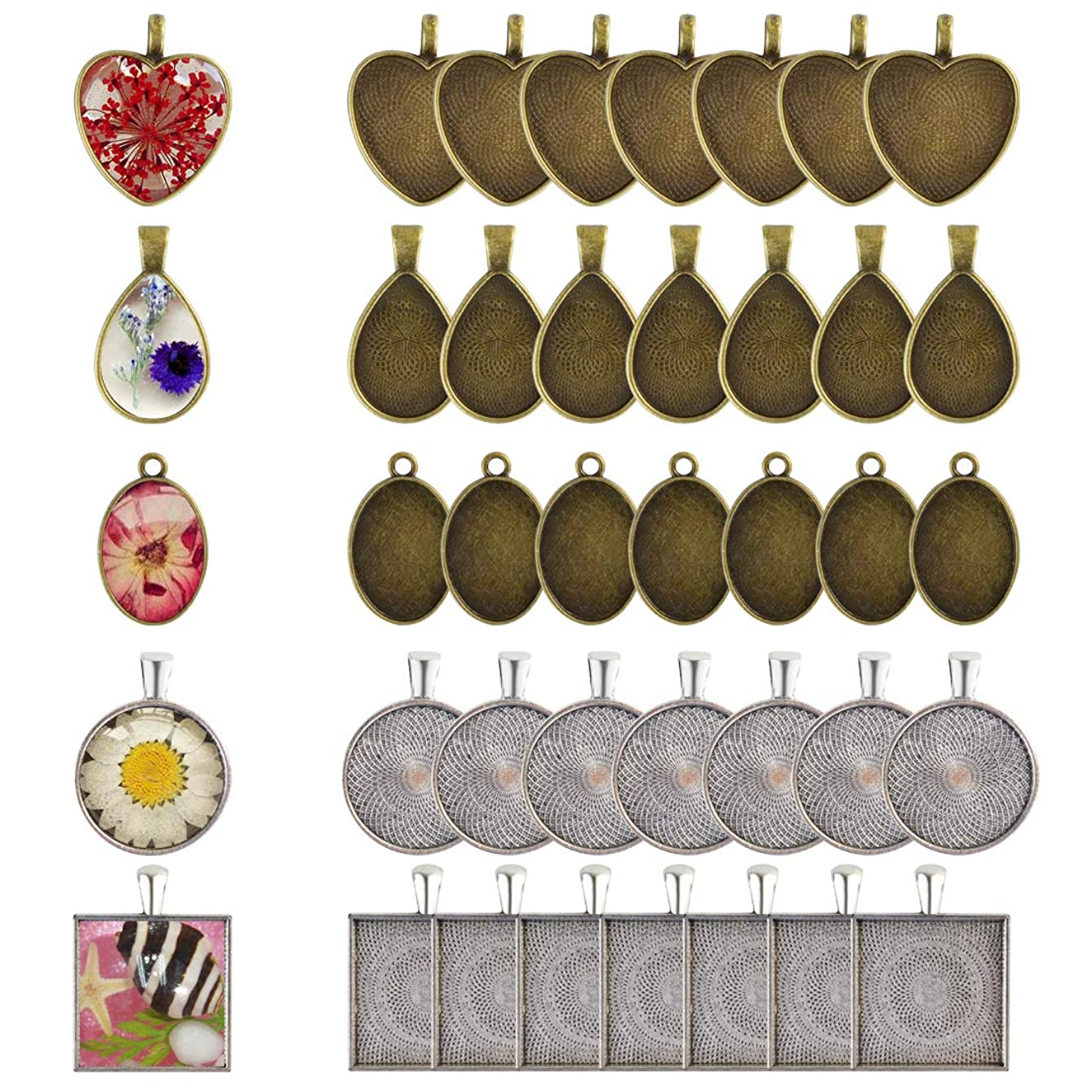 Yolyoo 40-Pieces 5 Styles Pendant Trays - Round & Square & Heart & Teardrop & Oval for Crafting DIY Jewelry Gift Making (40pcs)