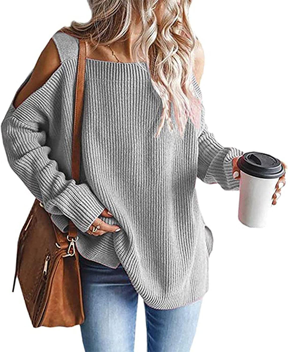 Women's Sexy Square Neck Sweater Cold Shoulder Knit Top Jumper Batwing Sleeve Loose Oversized Chunky Knitted Pullover