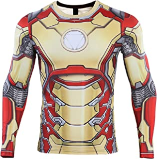 COOLMAX Iron Man Compression Shirt for Men's Gym Tops Cosplay Tees