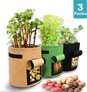 7 Gallon Potato Grow Bag with Flap and Handles 3 Pack, Plant Non-Woven Fabric Pot for Garden, and Growing Vegetables Containers, Planting Pots with Adhesive Strap Access Windows for Potatoes, Tomatoes