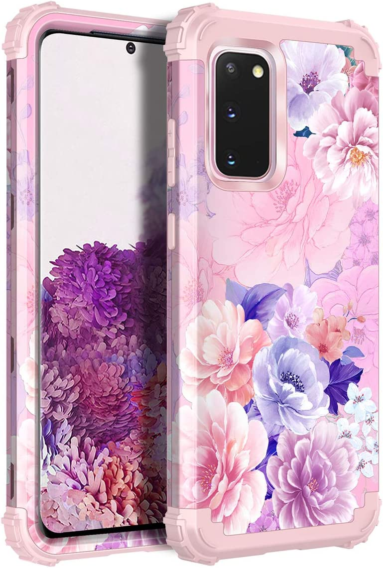 Casetego Compatible with Galaxy S20 Case,Floral Three Layer Heavy Duty Hybrid Sturdy Shockproof Full Body Protective Cover Case for Samsung Galaxy S20 6.4 inch,Cherry