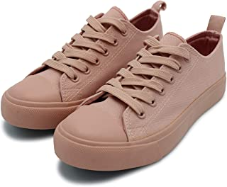 Women's Sneakers Casual Canvas Shoes, Low Top Lace up Cap Toe Flats (Order One Size Up) Pink Size: 7